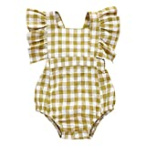 NUWFOR Newborn Infant Baby Girl Plaid Romper Ruffled Princess Bodysuit Clothes (Yellow,12-18 Months)