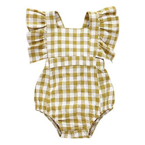 0-24 Months Girls Ruffled Sleeveless Plaid Romper Square Collar Snap up Casual Stylish One Piece Lightweight Sunsuit Set (18-24 Months, Yellow)