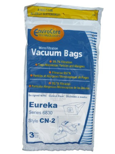 9 Eureka CN-2, CN2 Vacuum Bags by Envircare Series 6830, Power Team, Canister, General Electric Vacuum Cleaners, 61990A, 61990, 6830, 6831, 6833, GE6830, GE 6830 -