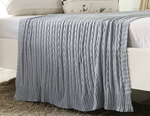 NEW YEAR SALES!100% All Cotton Knit Throw for Sofa Classic Cable Pattern, 43x70 Inches, Lightweight Ideal for All Year Round Use, Slate Cotton Striped Receiving Blanket