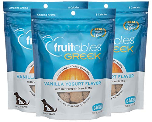 Fruitables 7 Ounce Greek Crunchy Dog Treats Vanilla Yogurt Flavor