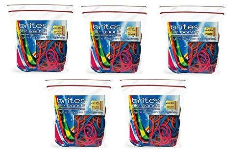 Alliance Brites File Bands (7 x 1/8 Inches) in Three Brite Colors - Resealable Bag - Made in the U.S.A. (250 bands)