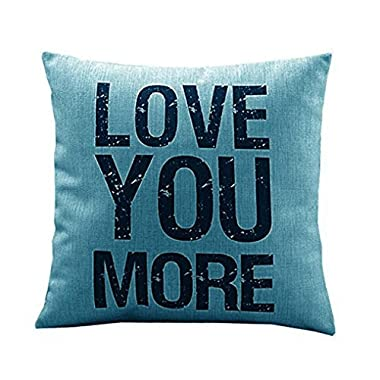 Creazy® Love you More Cotton Linen Cushion Throw Pillow Covers Pillowslip Case (Green)