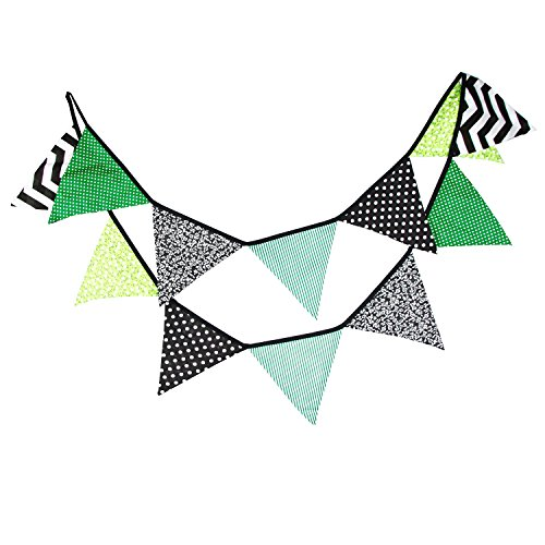 - INFEI 3.2M/10.5Ft Halloween Fabric Flags Bunting Banner Garlands for Wedding, Birthday Party, Outdoor & Home Decoration (Green)
