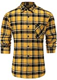 Emiqude Men's Stylish Flannel Cotton Slim Fit Long Sleeve Plaid Dress Shirt Large Yellow Black