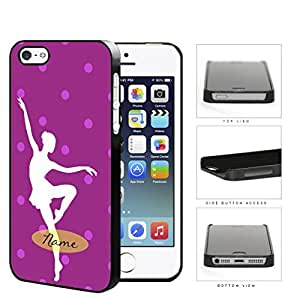 Ballerina Silhouette Monogram With Polka Dots Violet Hard Plastic Snap On Cell Phone Case Apple iPhone 5 5s