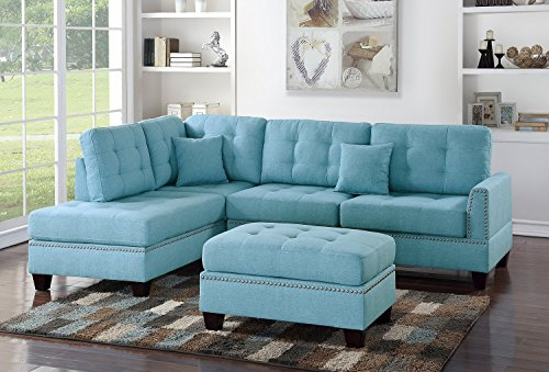 3Pcs Modern Contemporary Blue Linen-Like Fabric Reversible Sectional Sofa Set with Ottoman For Living Room
