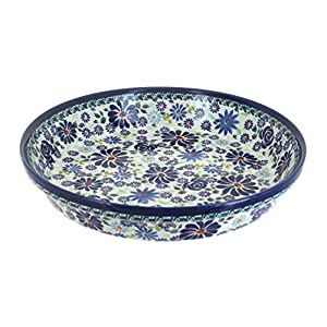 Blue Rose Polish Pottery Fantasy Pie Plate