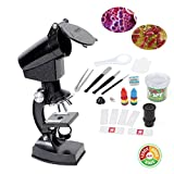 YBB Beginner Microscope Kit, Student Science Toys, 300X / 600X / 1200X Magnification,Includes Accessory Set and Box