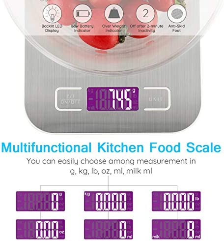 Food Kitchen Scale - 11lb/5kg Food Scale with Digital weight grams and oz, 1g/0.05oz Precise Graduation, USB Rechargeable 5 Units LCD Display Scale for Weight Loss, Baking, Cooking and More 4