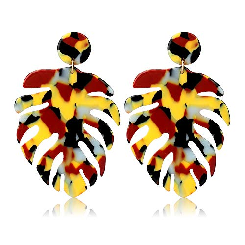 Acrylic Earrings for Women Drop Dangle Leaf Earrings Resin Minimalist Bohemian Statement Jewelry (Acrylic earrings Long Leopard Color)
