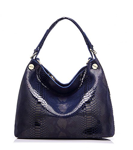 CLELO Genuine Leather Handbag for Women Python Embossed Shoulder Bag Soft -