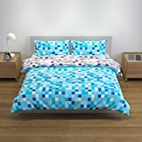 Bloomsbury Mill Blue/Grey Pixel - Reversible Bedding Set - Double Duvet Cover and 2 Pillowcases