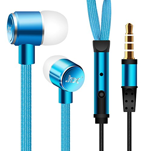 Well Gallery Shoelace Cool Style Earbuds Headphones with Built-In Microphone for Most Cellphones PC - Blue
