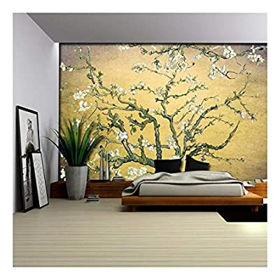 Orange with Lavender Vignette Almond Blossom by Vincent Van Gogh - Wall Mural, Removable Sticker, Home Decor - 66x96 inches