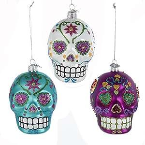 Kurt Adler Noble Gems Sugar Skulls Glass Ornaments Set of 3