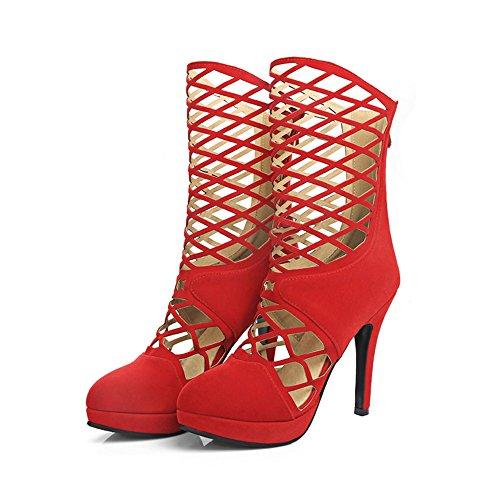 Rot Gold EU35 Plattform Rom wies UK3 Farbe Frauen Heels Hohl Größe Boots Reißverschluss wasserdichte Cool High 11CM ZHIRONG CN34 Sandalen Mesh AZwqTRR