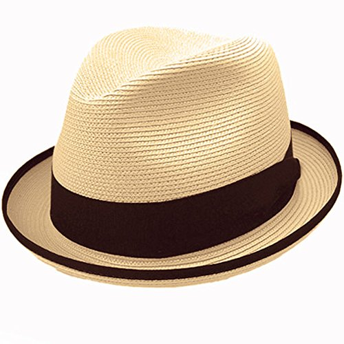Stetson Latte Milan Straw Hat - Sand - 7 5/8 (Hat Fedora Summer Braid)