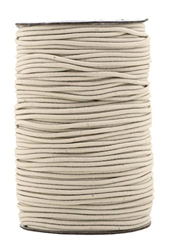 Mandala Crafts 2mm 70M Round Rubber Fabric Crafting Stretch Elastic Cord String (Cream) Cream Round Necklace