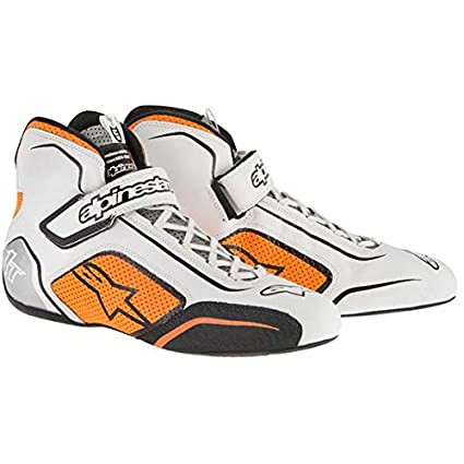 ALPINESTARS TECH 1-T SHOES BLACK//FLUOR YELLOW SIZE 5 SFI 3.3 LEVEL 5//FIA FULL-GRAIN LEATHER