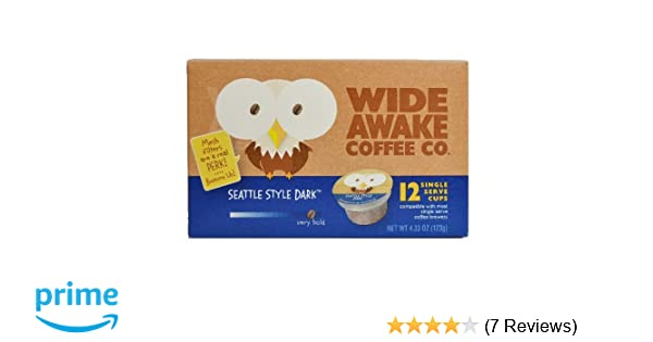 Wide Awake Coffee Single Serve Cups (Seattle Style Dark, 12)