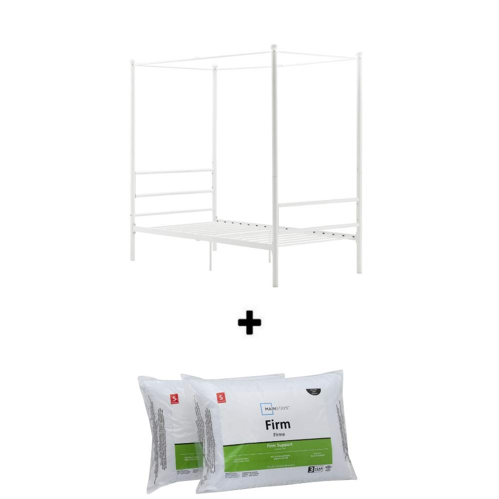 Mainstays Easy to Assemble Modern Design Sturdy Metal Frame Four Post Canopy Bed Queen, White