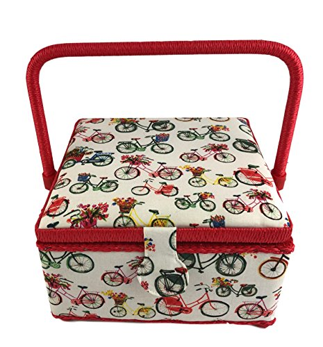 Dritz St Jane Square Sewing Basket (Medium 9x9x5, Red Bicycles) by Dritz