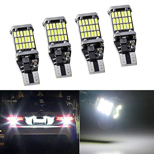 4pcs 912 921 T15 W16W LED Reverse Backup Trunk Cargo Light Bulbs Super Bright 4014 45 SMD 4014 Chipsets CANBUS Backup Light 6500K 4.5W Xenon White