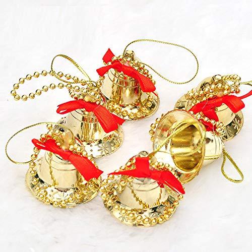 LtrottedJ 6Pcs Christmas Tree Hanging Bells Jingle Pendant Party Decoration Ornaments Xmas (Gold)