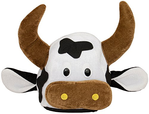 [Adults Plush Velvet Cow Steer Head Farm Grazing Moo Animal Hat Costume Accessory] (Cow Head Hat Adult)