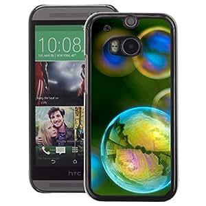 A-type Arte & diseño plástico duro Fundas Cover Cubre Hard Case Cover para HTC One M8 (Reflection Iridescent Yellow Teal Green)