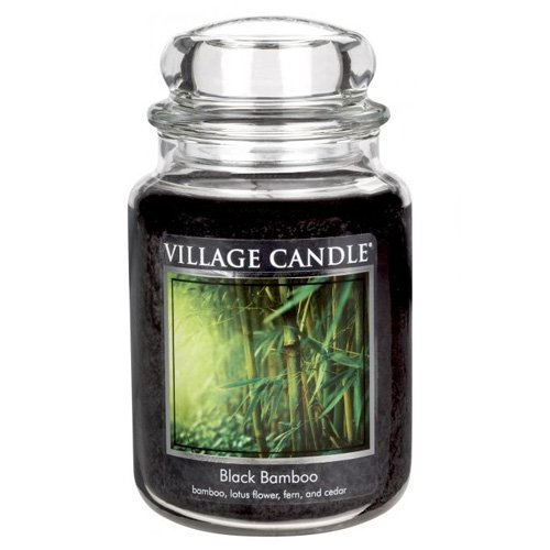 (Village Candle Black Bamboo 26 oz Glass Jar Scented Candle, Large)