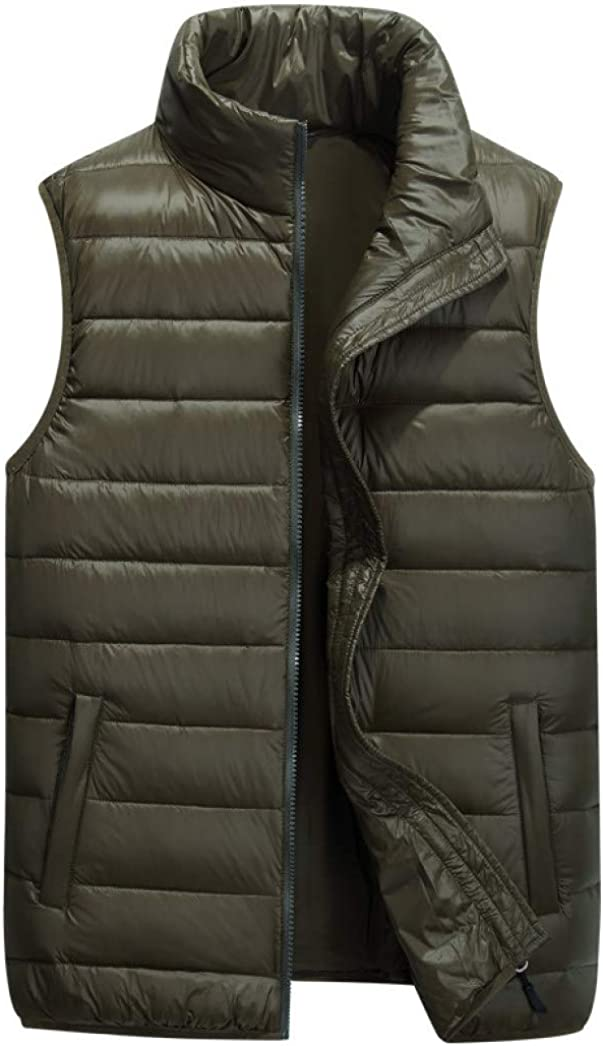 LUCACO Mens Packable Travel Light Weight Insulated Down Puffer Vest with Pocket