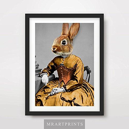 BUNNY RABBIT QUIRKY ANIMAL HEAD PORTRAIT Art Print Poster Home Decor Wall Picture Human Body Eccentric Bizarre Funny Vintage Odd Bizarre Unusual A4 A3 A2 (10 Sizes)