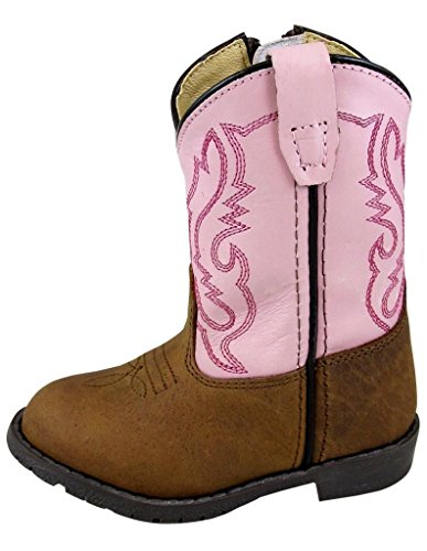 Smoky Children's Kid's Toddlers Brown Distress and Pink Leather Western Cowboy Boot ()