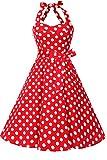 Topdress Women's Vintage Polka Audrey Dress 1950s Halter Retro Cocktail Dress Red Dot M