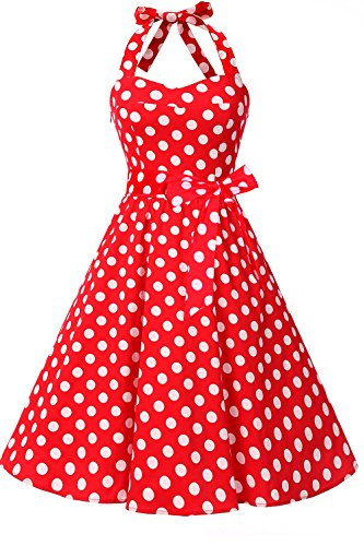 Topdress Women'sVintage Polka Audrey Dress 1950s Halter Retro Cocktail Dress Red Dot 3XL New