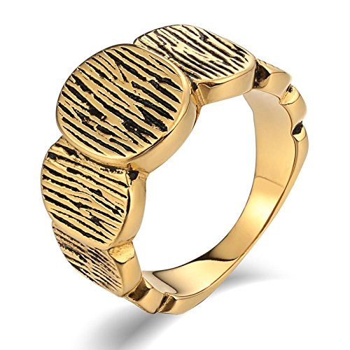 Aooaz Stainless Steel Ring for Men Matte-Finish Round Link Wedding Ring Signet Rings Gold US Size 12 (Ring Bearer Watch)