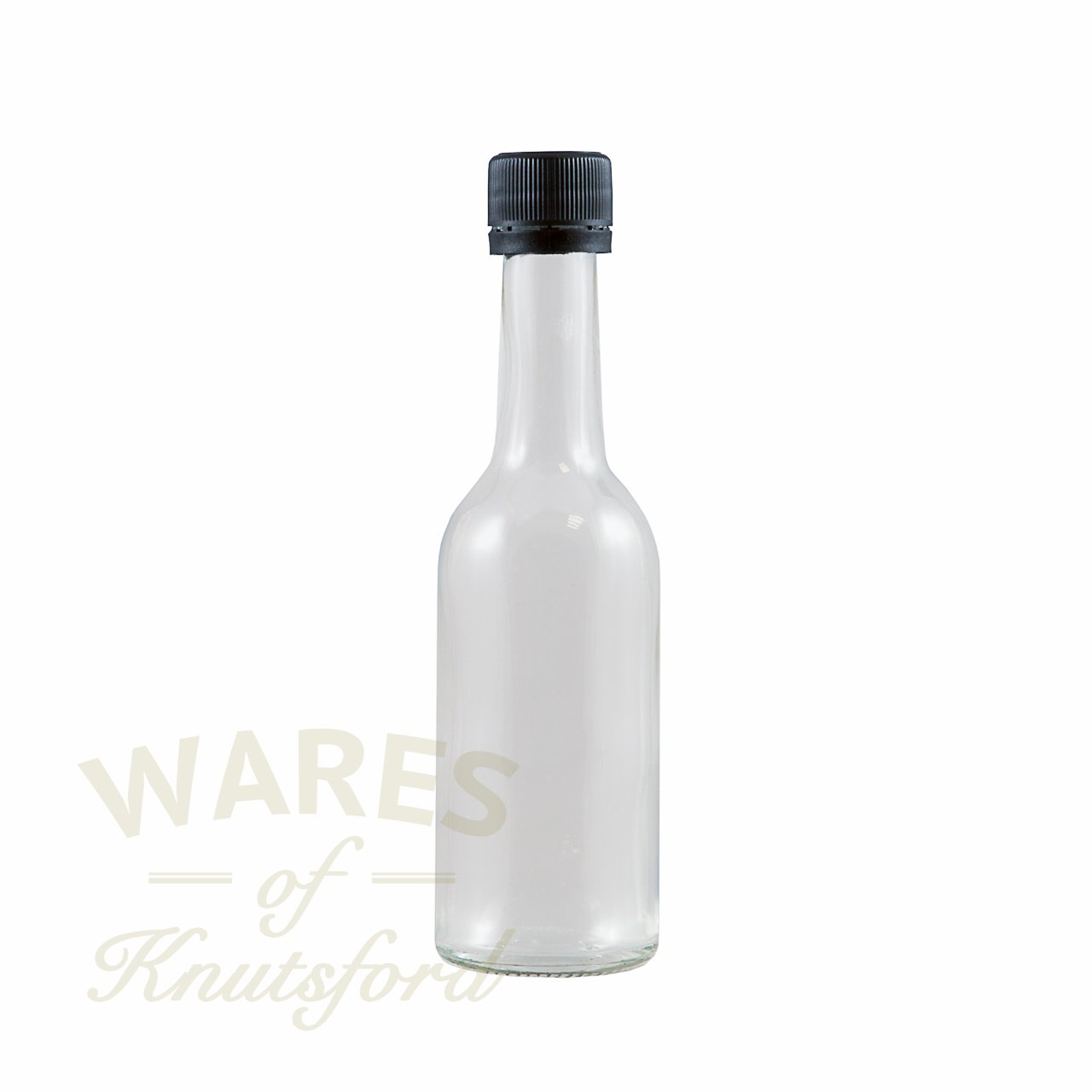50ml Mini Wine Bottle including caps, Perfect for Wedding Favours (Pack of 12, Black plastic tamper evident epe lined) Wares of Knutsford