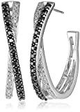 Sterling Silver Black and White Diamond Crisscross Hoop Earrings (1/2 cttw)