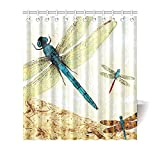 """66""""(w) x 72""""(h) Vintage Dragonfly Art Pattern Bathroom Shower Curtain Shower Rings Included, 100% Polyester"""