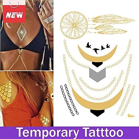 OxGrow (TM) 1 hoja Atrapasueños Tatuaje Joyería Brazo Pierna 3d ...