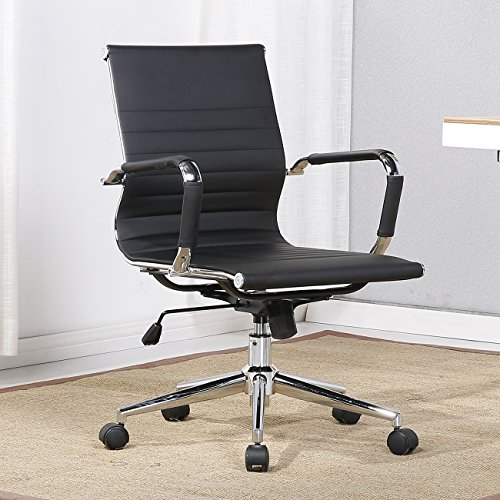 Belleze Mid-Back Faux Leather Adjustable Swivel Office Chair Soft Ribbed w/ Armrest, Black - Soft Leather Office Chair