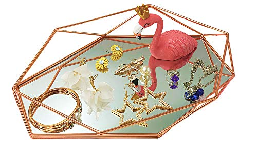 - Outdoorfly Decorative Tray Mirrored Prisma Tray Glass Metal Jewelry Makeup Organizer Holder Ornate Tray Vanity Geometric and Brass Plated Storage Cosmetic Perfume Mirror Tray for Women Girl(Rose Gold)