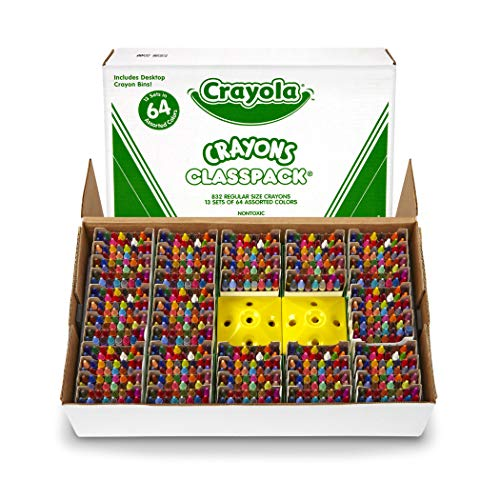 Crayola BIN528019 Crayon Classpack, Reg Size, 64 Colors, Pack of 832 (64 Pack Of Crayons In Color Order)