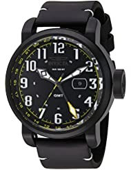 Invicta Mens Aviator Swiss Quartz Stainless Steel and Leather Casual Watch, Color:Black (Model: 22253)