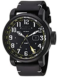 Invicta Men's 'Aviator' Swiss Quartz Stainless Steel and Leather Casual Watch, Color:Black (Model: 22253)