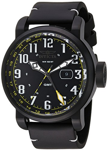 Invicta Men's 'Aviator' Swiss Quartz Stainless Steel and Leather Casual Watch, Color:Black (Model: - Aviator Watch Mens