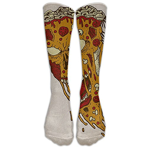 Novelty Casual Long Socks Scary Pizza Skull Patterned Comfortable Warmer Stockings 1 Pair For Women & Men Sport High - Del Ma Costa