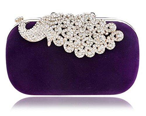 Bridal Purse Bag Wedding Shoulder Clutch Ym1009purple Rhinestones Handbags For Wedding FTxtpq